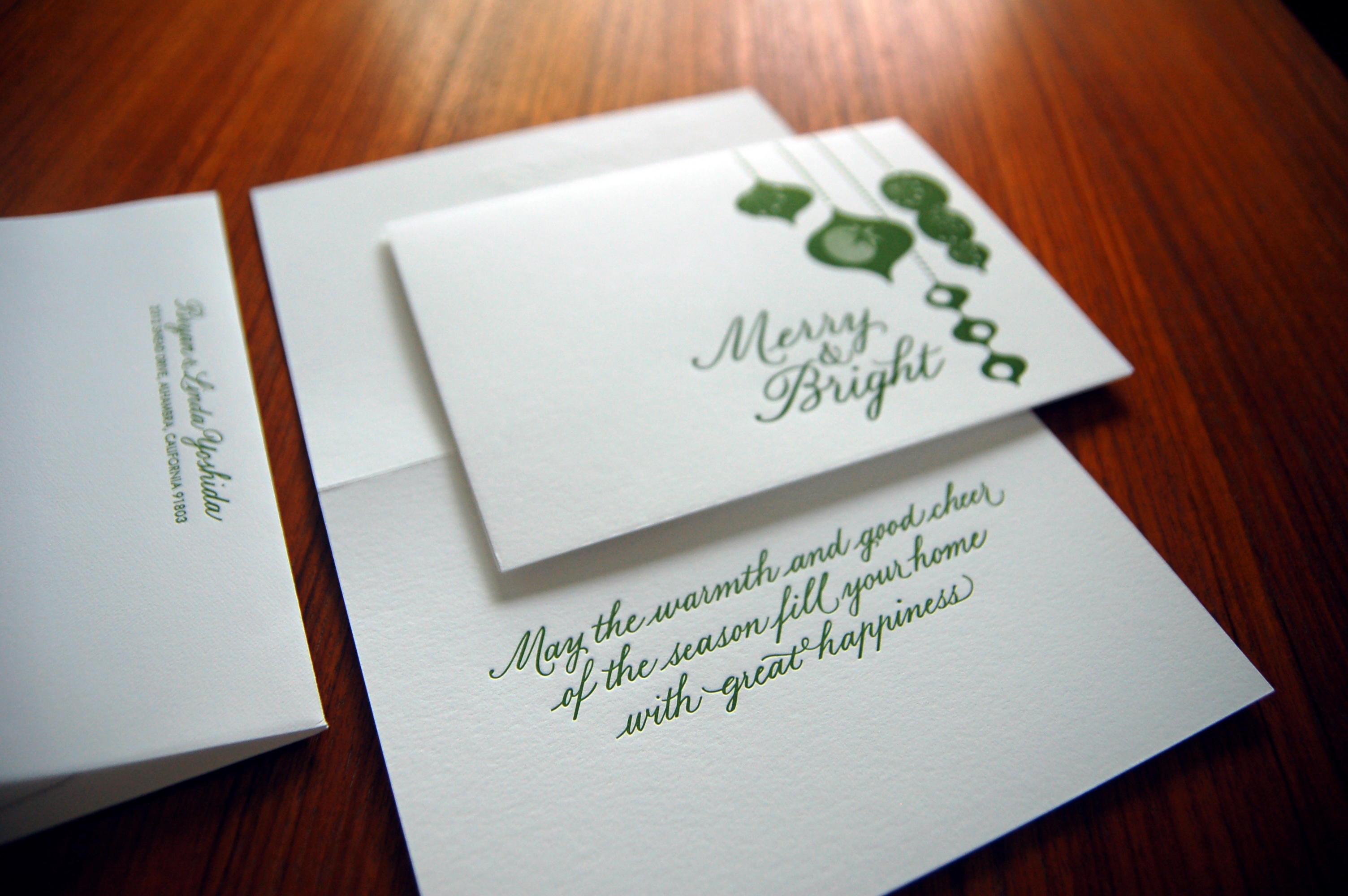 Letterpressed holiday card