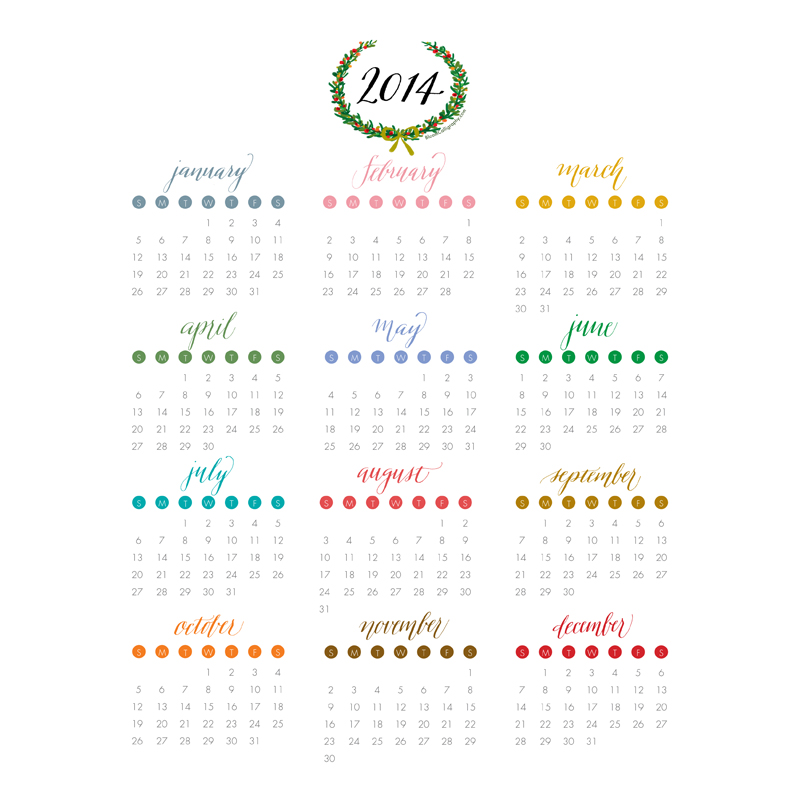 Bloom Calligraphy 2014 Printable Calendar