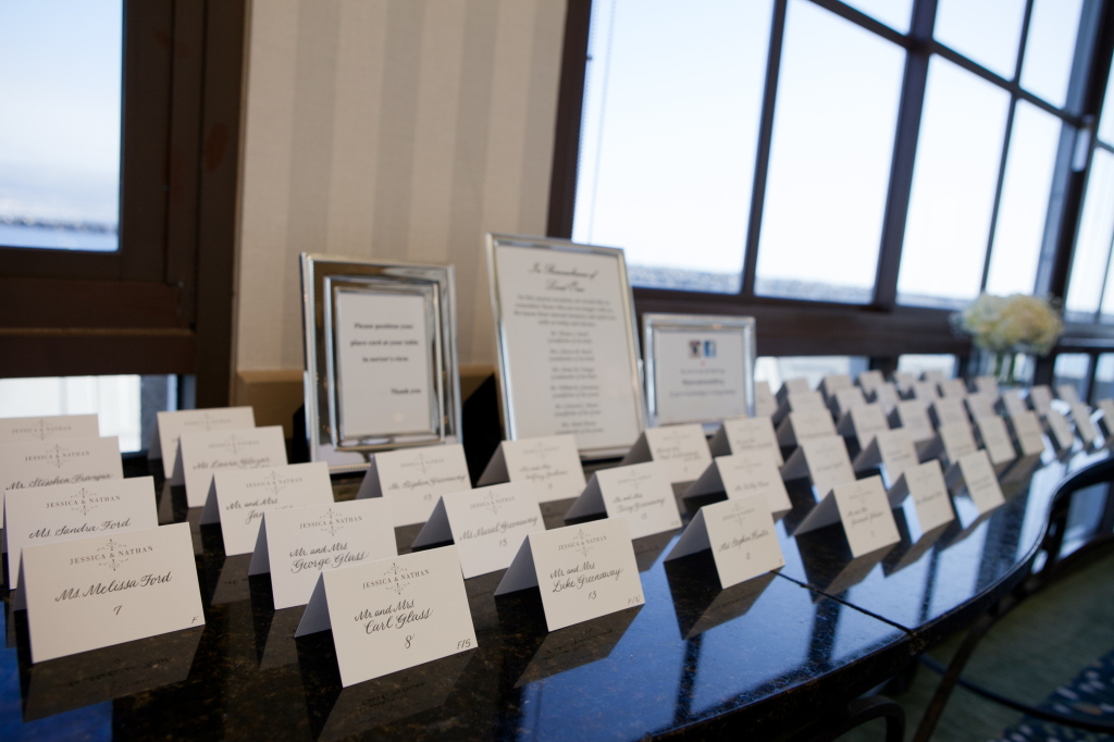 Seating cards all lined up