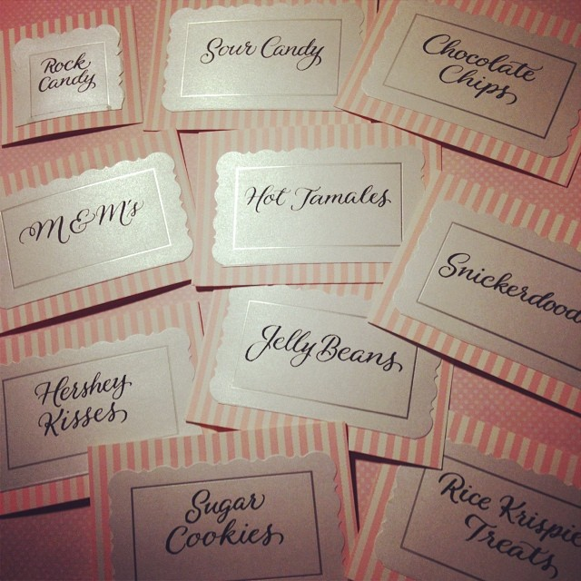 Fun labels for the Candy & Cookies table